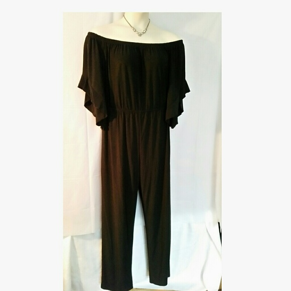 Ashley Stewart Pants Off Shoulder Black Jumpsuit 1820 Poshmark